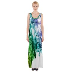 Colour Smoke Rainbow Color Design Maxi Thigh Split Dress