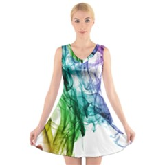 Colour Smoke Rainbow Color Design V Neck Sleeveless Skater Dress