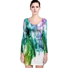 Colour Smoke Rainbow Color Design Long Sleeve Velvet Bodycon Dress