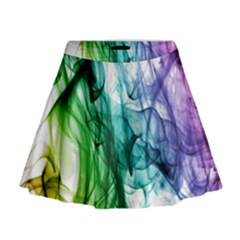 Colour Smoke Rainbow Color Design Mini Flare Skirt