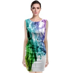 Colour Smoke Rainbow Color Design Sleeveless Velvet Midi Dress
