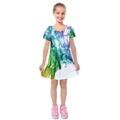 Colour Smoke Rainbow Color Design Kids  Short Sleeve Velvet Dress
