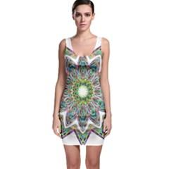 Decorative Ornamental Design Sleeveless Bodycon Dress