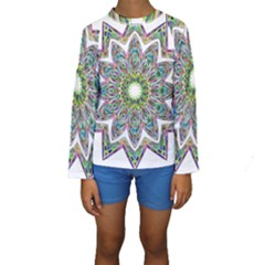 Decorative Ornamental Design Kids  Long Sleeve Swimwear