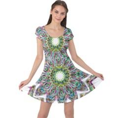 Decorative Ornamental Design Cap Sleeve Dresses