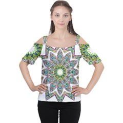 Decorative Ornamental Design Women s Cutout Shoulder Tee
