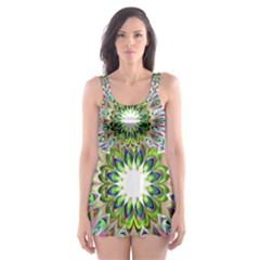 Decorative Ornamental Design Skater Dress Swimsuit