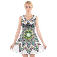 Decorative Ornamental Design V Neck Sleeveless Skater Dress