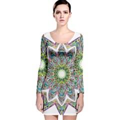 Decorative Ornamental Design Long Sleeve Velvet Bodycon Dress