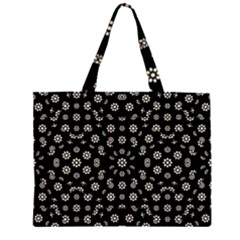 Dark Ditsy Floral Pattern Zipper Large Tote Bag by dflcprints