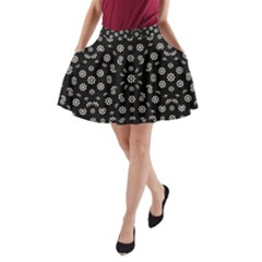 Dark Ditsy Floral Pattern A Line Pocket Skirt by dflcprintsclothing