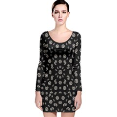 Dark Ditsy Floral Pattern Long Sleeve Velvet Bodycon Dress by dflcprintsclothing