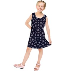 Dark Ditsy Floral Pattern Kids  Tunic Dress by dflcprintsclothing