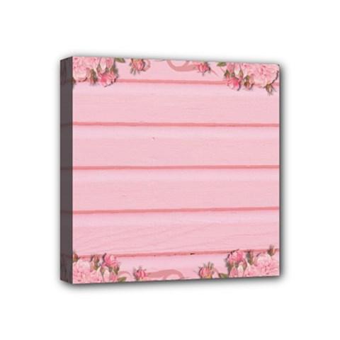 Pink Peony Outline Romantic Mini Canvas 4  X 4  by Simbadda