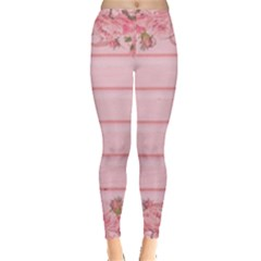 Pink Peony Outline Romantic Leggings  by Simbadda