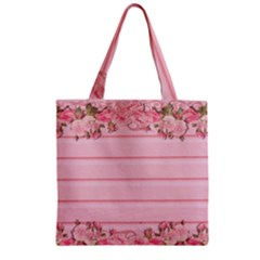 Pink Peony Outline Romantic Zipper Grocery Tote Bag by Simbadda