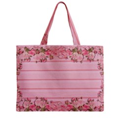 Pink Peony Outline Romantic Zipper Mini Tote Bag by Simbadda
