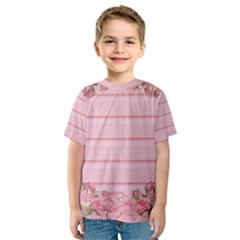 Pink Peony Outline Romantic Kids  Sport Mesh Tee by Simbadda