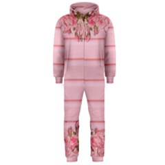 Pink Peony Outline Romantic Hooded Jumpsuit (men)