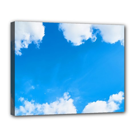Sky Clouds Blue White Weather Air Canvas 14  X 11  by Simbadda