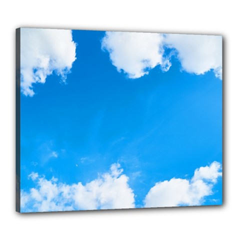Sky Clouds Blue White Weather Air Canvas 24  X 20  by Simbadda
