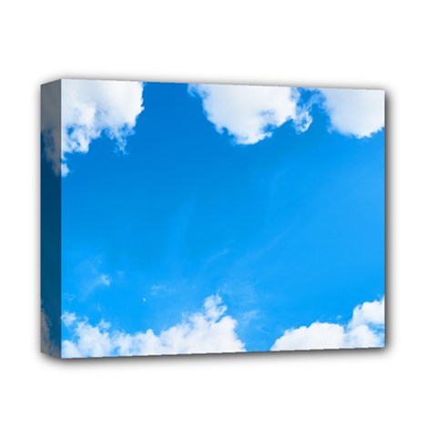 Sky Clouds Blue White Weather Air Deluxe Canvas 14  X 11  by Simbadda
