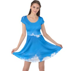 Sky Clouds Blue White Weather Air Cap Sleeve Dresses