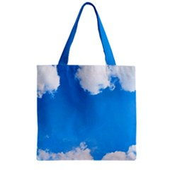 Sky Clouds Blue White Weather Air Zipper Grocery Tote Bag by Simbadda