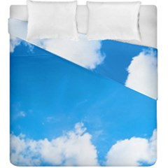 Sky Clouds Blue White Weather Air Duvet Cover Double Side (king Size) by Simbadda