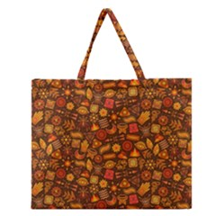 Pattern Background Ethnic Tribal Zipper Large Tote Bag by Simbadda