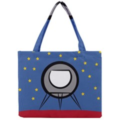 A Rocket Ship Sits On A Red Planet With Gold Stars In The Background Mini Tote Bag by Simbadda