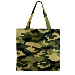 Camouflage Camo Pattern Zipper Grocery Tote Bag