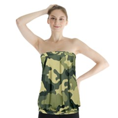 Camouflage Camo Pattern Strapless Top