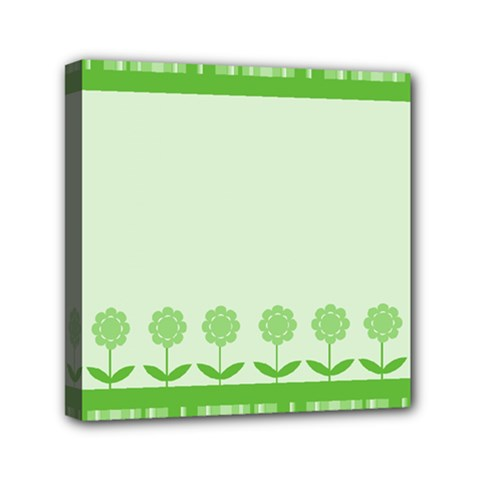 Floral Stripes Card In Green Mini Canvas 6  X 6  by Simbadda