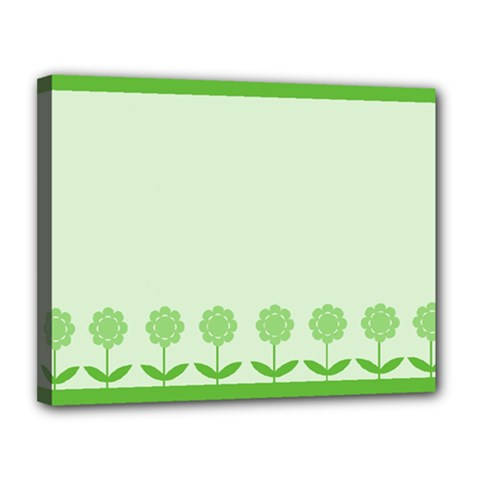 Floral Stripes Card In Green Canvas 14  X 11  by Simbadda