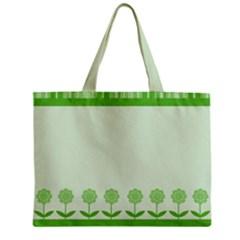 Floral Stripes Card In Green Zipper Mini Tote Bag by Simbadda