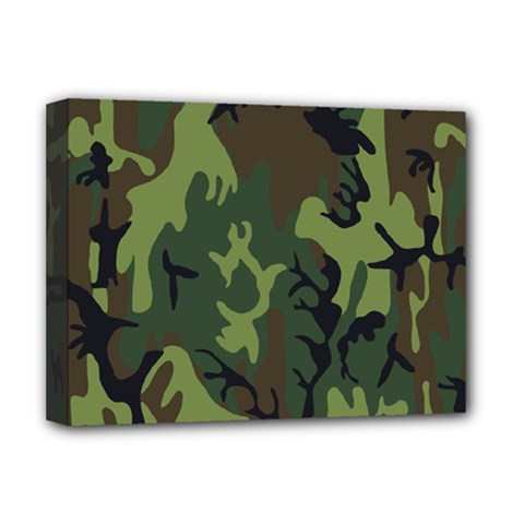 Military Camouflage Pattern Deluxe Canvas 16  X 12   by Simbadda