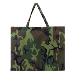 Military Camouflage Pattern Zipper Large Tote Bag by Simbadda