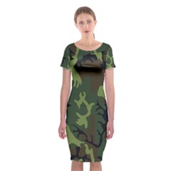Military Camouflage Pattern Classic Short Sleeve Midi Dress by Simbadda