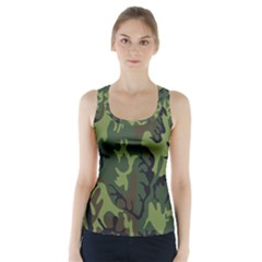 Military Camouflage Pattern Racer Back Sports Top by Simbadda