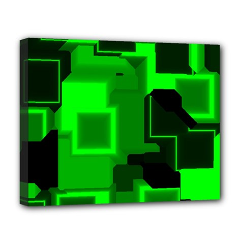 Green Cyber Glow Pattern Deluxe Canvas 20  X 16   by Simbadda