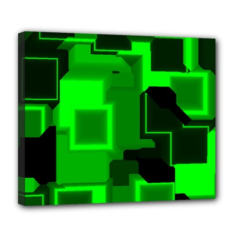Green Cyber Glow Pattern Deluxe Canvas 24  X 20   by Simbadda