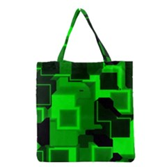 Green Cyber Glow Pattern Grocery Tote Bag by Simbadda