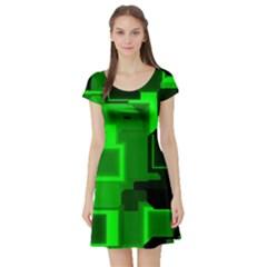 Green Cyber Glow Pattern Short Sleeve Skater Dress