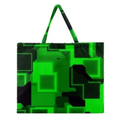Green Cyber Glow Pattern Zipper Large Tote Bag by Simbadda