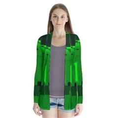 Green Cyber Glow Pattern Cardigans by Simbadda