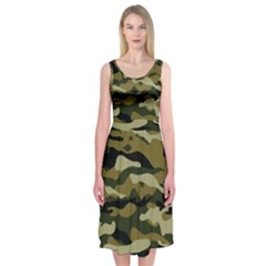 Military Vector Pattern Texture Midi Sleeveless Dress by Simbadda