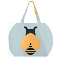 Animals Bee Wasp Black Yellow Fly Zipper Large Tote Bag by Alisyart