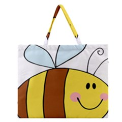 Animals Bee Wasp Smile Face Zipper Large Tote Bag by Alisyart