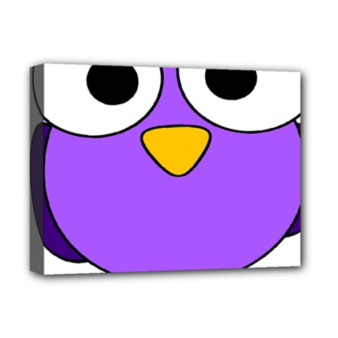 Bird Big Eyes Purple Deluxe Canvas 16  X 12   by Alisyart